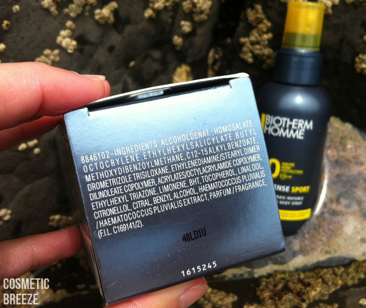 BIOTHERM HOMME-UV-DEFENSE-SPORT-QUIKSILVER-SURF-TEAM-SPF30-INGREDIENTES