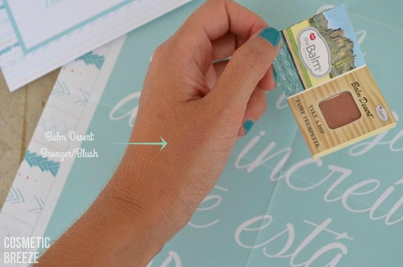 BIRCHBOX de Agosto 2015 - Nuevas Aventuras - the balm - bronzer blush - color - muestra - swatch