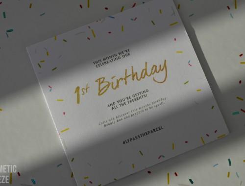 LOOKFANTASTIC BEAUTY BOX de SEPTIEMBRE 2015 ANIVERSARIO - tarjeta primer aniversario