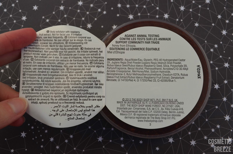 Exfoliante de Frambuesa - The Body Shop - Ingredientes