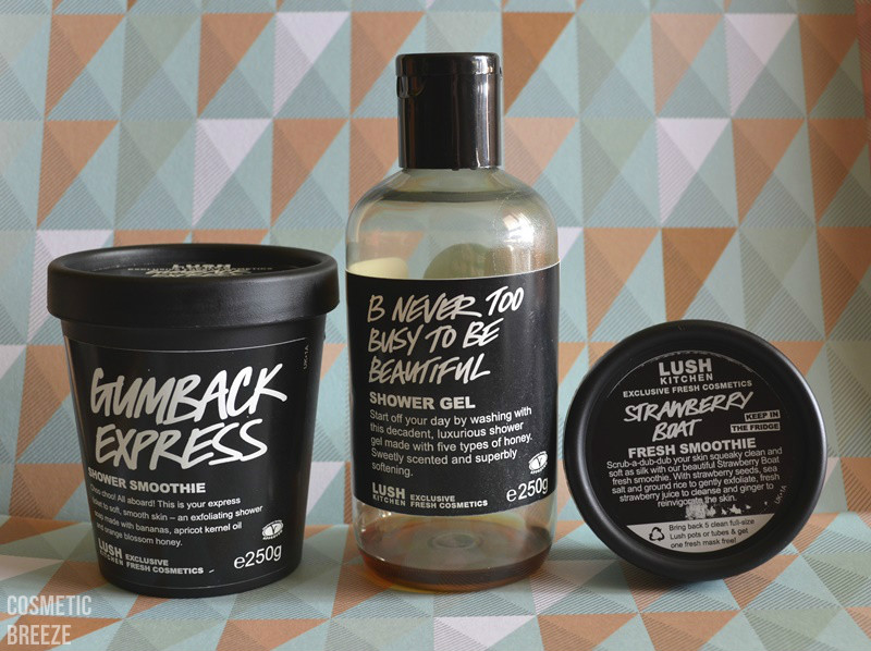 lush kitchen - productos terminados - B Never Too Busy To Be Beautiful, Gumback Express y Strawberry Boat
