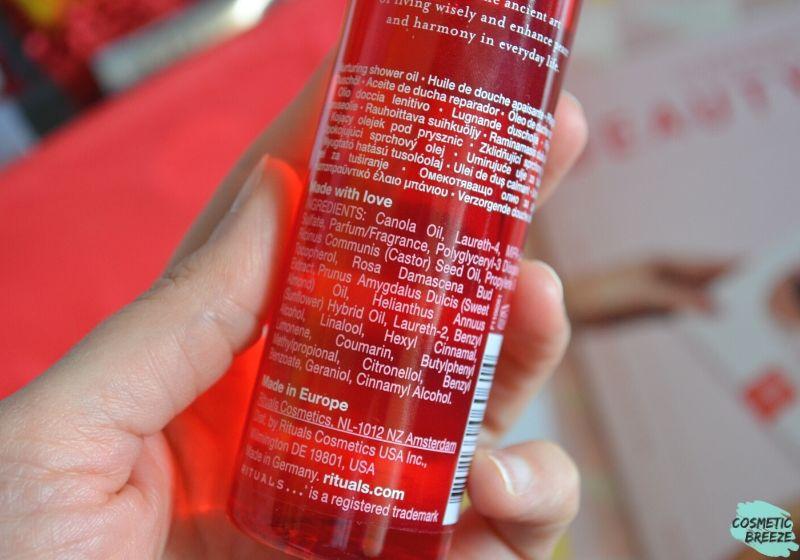 Lookfantastic Beauty Box de Marzo 2020 - Rituals Ayurveda Shower Oil Ingredients